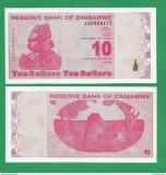 = ZIMBABWE - 10 DOLLARS - 2009 -UNC    =