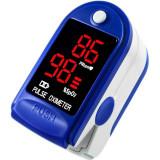 Pulsoximetru cu display LED, aparat masurare puls si a oxigenului din sange, albastru