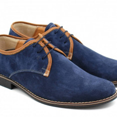 Pantofi barbati din piele naturala (Intoarsa) casual - eleganti Bleumarin P34MBL