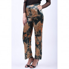 Pantaloni Florali Vila Kaitlin Verde Auriu