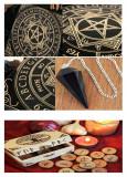 Placa pendul obsidian,cuart roz+un set de rune cadou, Fridolin