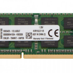 Memorii Laptop Kingston 8GB DDR3 PC3L-12800S 1600Mhz 1.35V KVR16LS11/8