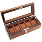 Cumpara ieftin Cutie caseta din lemn pentru depozitare si organizare 5 ceasuri, model Pufo...