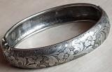 Bratara veche Germania Viena argint 835 - gravata motiv floral, Femei