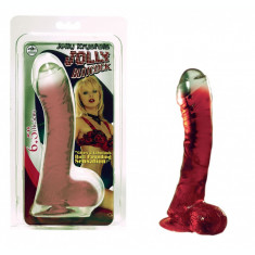 Dildo cu ventuza - Rosu Transparent - 16,5 cm