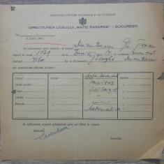 Certificat situatie scolara// Liceul Matei Basarab Bucuresti, 194