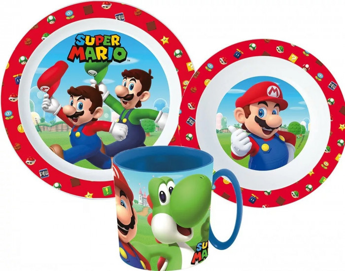 Set mic dejun, Super Mario, 3 piese, pentru microunde, ORIGINAL