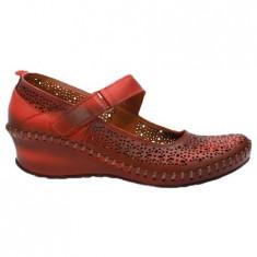 Pantof rosu de dama, cu bareta peste picior si talpa ortopedica