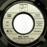 "Milli Vanilli – All Or Nothing (U.S. Remix) (1989, Hansa) Disc vinil single 7"""