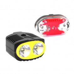 Set far si stop pentru bicicleta TD-651A, 2 x LED, 3 x AA