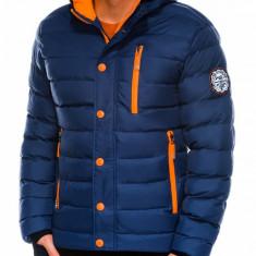 Geaca pentru barbati bleumarin ideal ski de iarna cu gluga fermoar si nasturi model slim c124