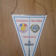 Fanion Romania-Finlanda 28 august 1985, Timisoara