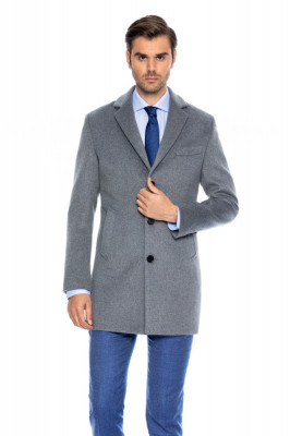 Palton barbati business slim gri B157 foto