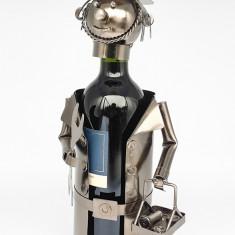 Suport pentru Sticla Vin model instalator metal lucios H 34cm