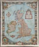 Insulele Britanice// harta The National Geographic Magazine, 1937