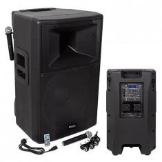 Boxa profesionala activa 500W RMS BT/USB/SD/AUX,2 mic VHF, dif. 46 cm