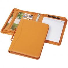 Mapa A4 cu 20 pagini incluse, buzunar cu fermoar, Everestus, BE, piele ecologica, portocaliu, saculet si lupa de citit incluse