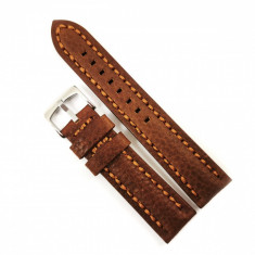 Curea de ceas maro cu textura bizonata din piele naturala 20mm, 22mm 24mm - WZ4178