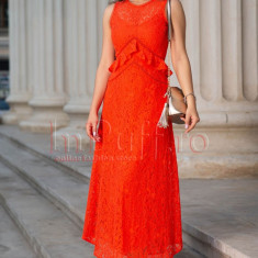 Rochie eleganta orange din dantela, S