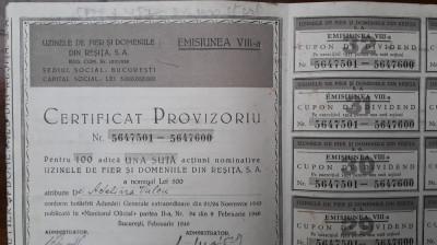100 Actiuni a 500 lei Uzinele de fier Resita 1946 /vechi / actiune veche Romania foto