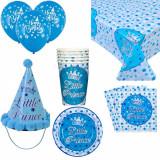 Cumpara ieftin Set accesorii pentru petrecere si zi de nastere Little Prince, albastru cu alb, Pufo