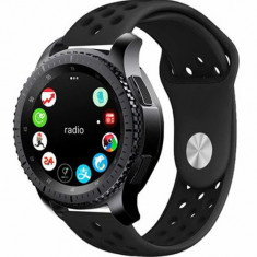 Curea ceas Smartwatch Samsung Gear S3, iUni 22 mm Silicon Sport Black