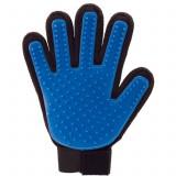 Manusa pentru periaj si masaj animale de companie, marime universala,culoare albastru/negru