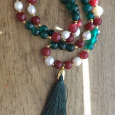 Colier radacina de smarald si de rubin (India), perle de cultura si matase