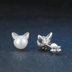 Cercei din argint Perle cu Urechi de Pisica