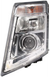 Cumpara ieftin Far stanga (D2S H7 LED PY21W, reglaj manual, cu becuri, insertii crom, semnalizator transparent) VOLVO FH, FH 16, FH II, FM dupa 2005, Hella