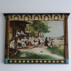 Tablou foarte vechi -rama atipica- 1878 - Nunta traditionala - (89)