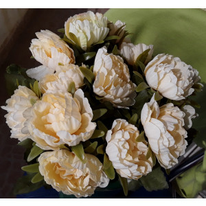 Buchet flori artificiale - PEONIE 5 pcs , H 30 cm   CREM, IVOIRE