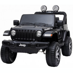 Masinuta electrica 4x4 Premier Jeep Wrangler Rubicon, 12V, roti cauciuc EVA, scaun piele ecologica, negru