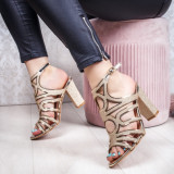 Sandale cu toc dama aurii Piselia