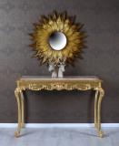 Consola din lemn masiv auriu cu blat din marmura CAT809A