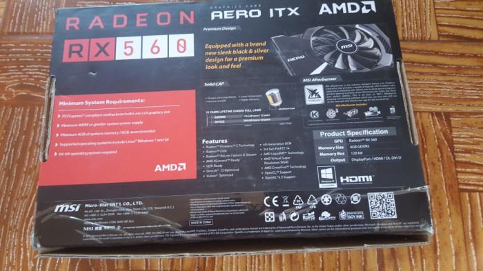 Placa video MSI Radeon RX 560 4GB DDR5 128-bit