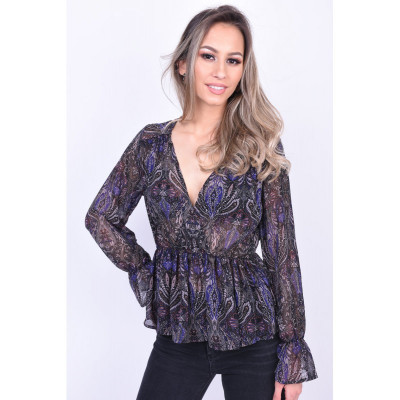 Bluza Eleganta Vero Moda Olana Chiffon Negru Mov foto