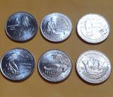 Set 6 monede Quarter / 25 cents 2009 SUA , Teritorii, necirculat, America de Nord