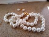Set cercei si colier perle albe akoya