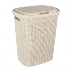 Cos cu capac pentru rufe, 40 x 30 x 56 cm, 55 l, Crem