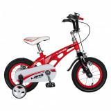 Bicicleta W1246D 12 inch frana C-Brake cu roti ajutatoare 2-4 ani rosunegru