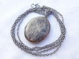 MEDALION argint cu LOCAS FOTOGRAFII LOCKET 1900 FRANTA art nouveau + Lant argint