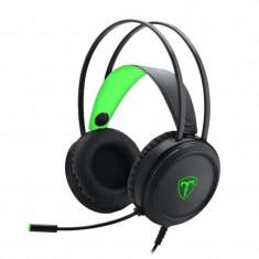 Casti Gaming T-DAGGER Ural Black, Stereo, Iluminare verde, 2x Jack 3.5mm, TRS,...