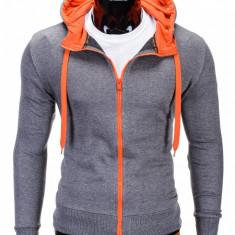 Hanorac pentru barbati gri portocaliu cu fermoar si gluga slim fit sport B485
