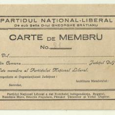 Carte de Membru Partidul National Liberal Gh.Bratianu - anii 1930