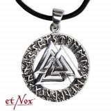 Pandantiv argint simbol viking Nodul Wotan cu Rune