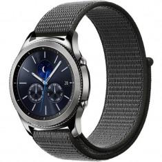 Curea ceas Smartwatch Samsung Gear S3, iUni 22 mm Soft Nylon Sport, Midnight Gray