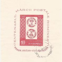 România, LP 463a/1958, Centenarul mărcii poştale româneşti, coliţă nedant., obl.