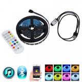 Banda LED RGB 5050 3m Kit TV la USB cu Bluetooth Telecomanda IP65 BL6
