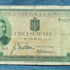 500 Lei 1934 Romania Regele Carol al 2-lea